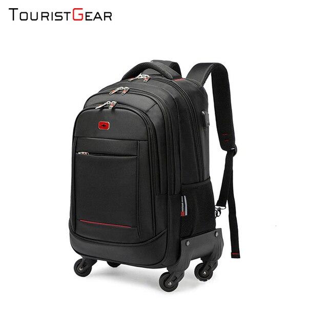 school backpack with Wheel Waterproof Luggage Travel trolley bag business Laptop Backpack Men Carry-on Wheel Rolling Suitcase 3