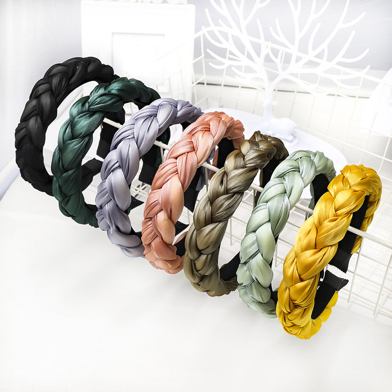 Korean Solid Color Satin Braided Headband Sponge Wide Hair Hoop Turban For Women Hair Accessories 2019 Girls Elastic Hairband