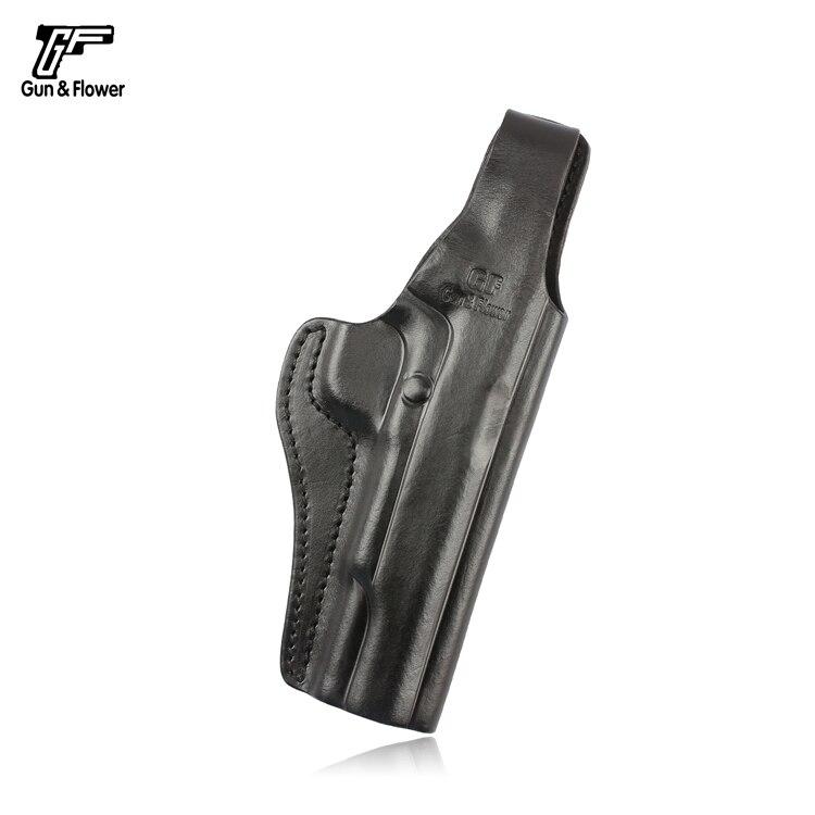 Gun&Flower Colt 1911 Pistol OWB Leather Holster Thumb Release Gun Pouch Case Open Muzzle Pancake Belt Holster