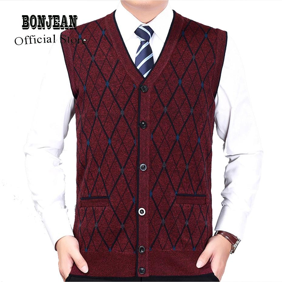 New Men's Brand Wool Knit Vest V Neck Fashion Casual Basic Cardigan Sleeveless Sweater For Autumn Winter Tops K1803