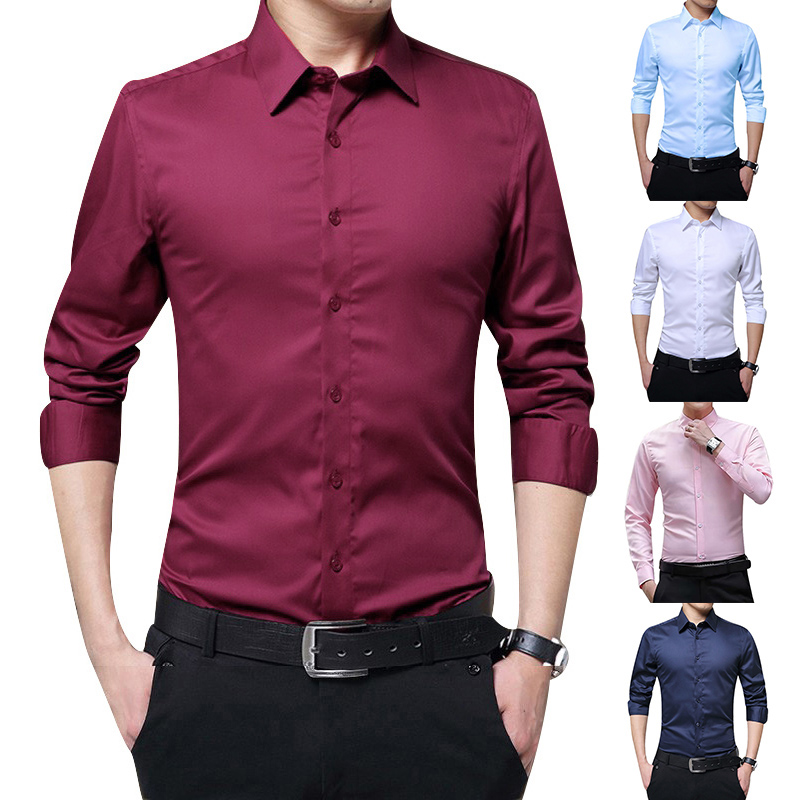 Men Long Sleeve Shirts Slim Fit Solid Business Formal Shirts For Autumn FO Sale