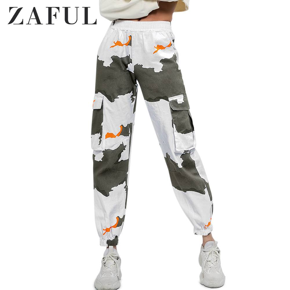 ZAFUL Mid-Waist Printed Jogging Pants Pockets Bouquet Pants Graphic Elastic Waist Casual Women Pants Autumn Multi Standard Size