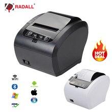 Wysokiej jakości 80mm drukarka pokwitowań termiczna automatyczna gilotyna drukarka WIFI/Bluetooth/USB/LAN/RS232 kuchnia restauracja poz