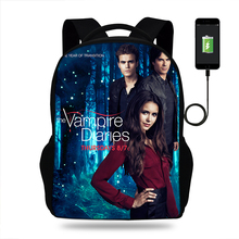 17inch The Vampire Diaries Mens College Backpack usb Charger Schoolbag for Laptop Backpacks for Teen