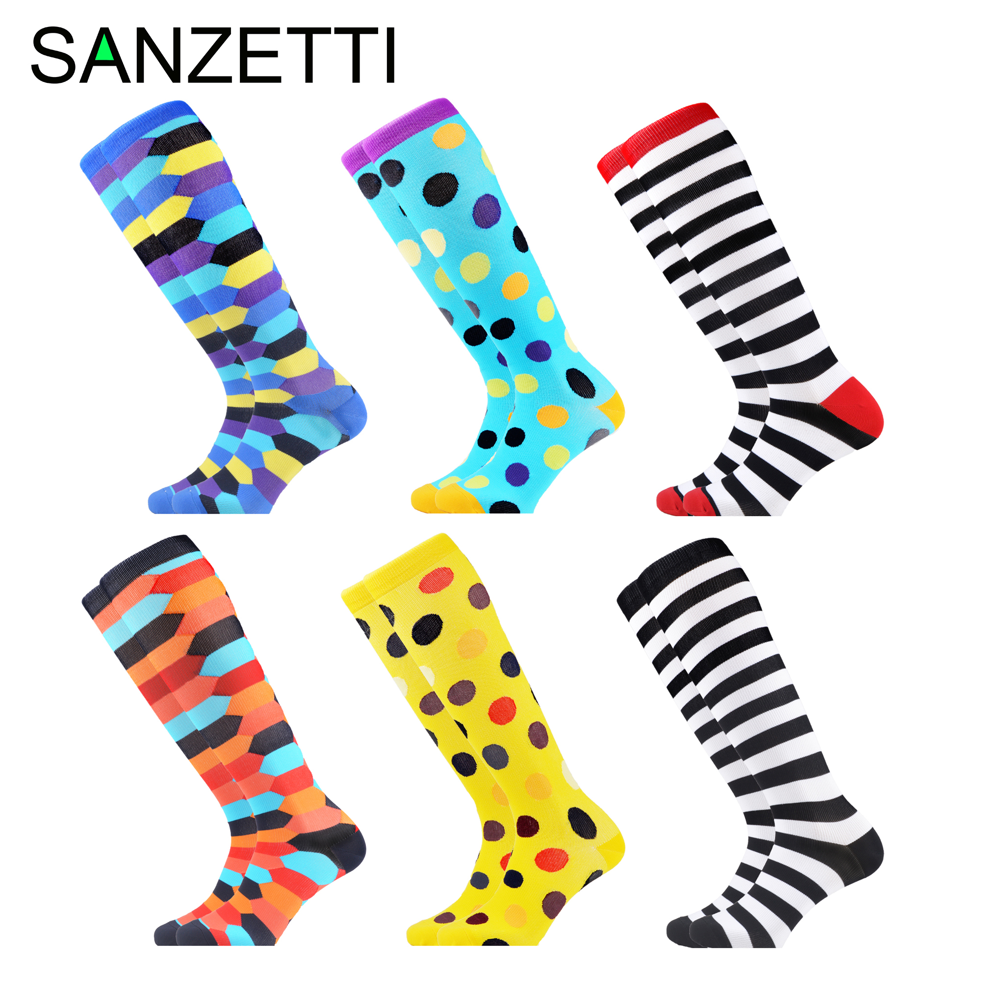 SANZETTI 6 Pairs/Lot Women's Colorful Below Knee Design Leg Support Stretch Cotton Compression Socks Anti-Fatigue Happy Socks