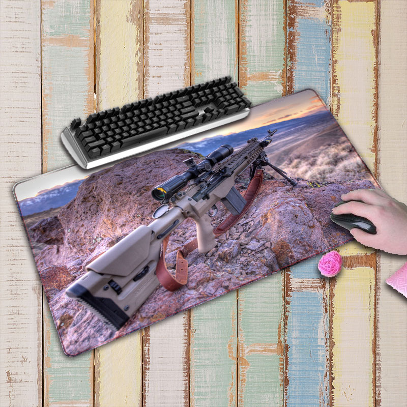 Gun Picture Anti-Slip Laptop PC gaming Mice Pad Mat Large Locking Edge Mousepad For Optical Laser Mouse For CSGO DOTA2 image