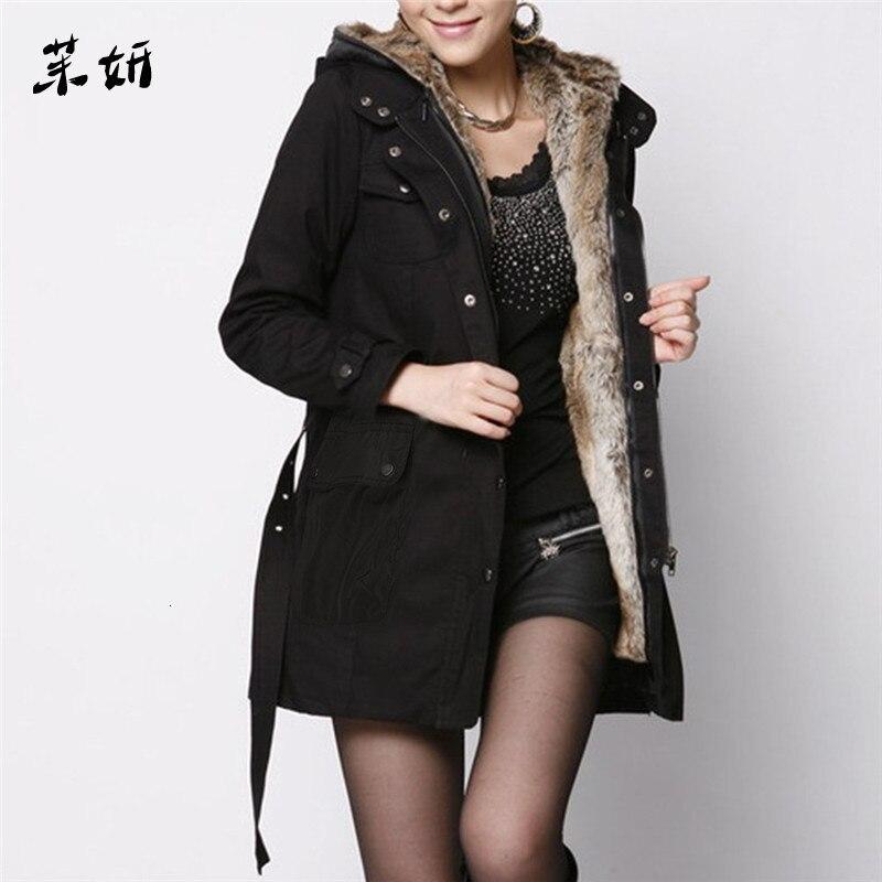 Women's Sweater Ladies Fur Lining Coat Womens Winter Warm Thick Long Jacket Hooded Parka  Jacket Coat Women's Jacket Coat Female