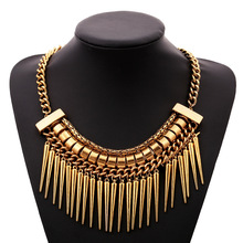Hot Sale Punk Statement Bullet Ancient Bronze Silver Color Metal Choker Necklace Hyperbole Vintage Party Jewelry For Women Gift