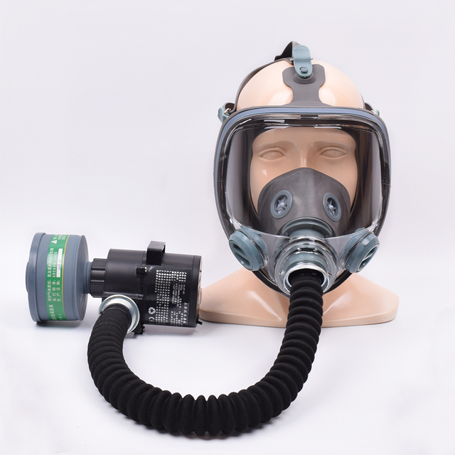 Painting Spray Gas Mask N95 Chemical Full-face Mask Respirator Long Tube Filter Pesticide Ammonia with Automatic Blower