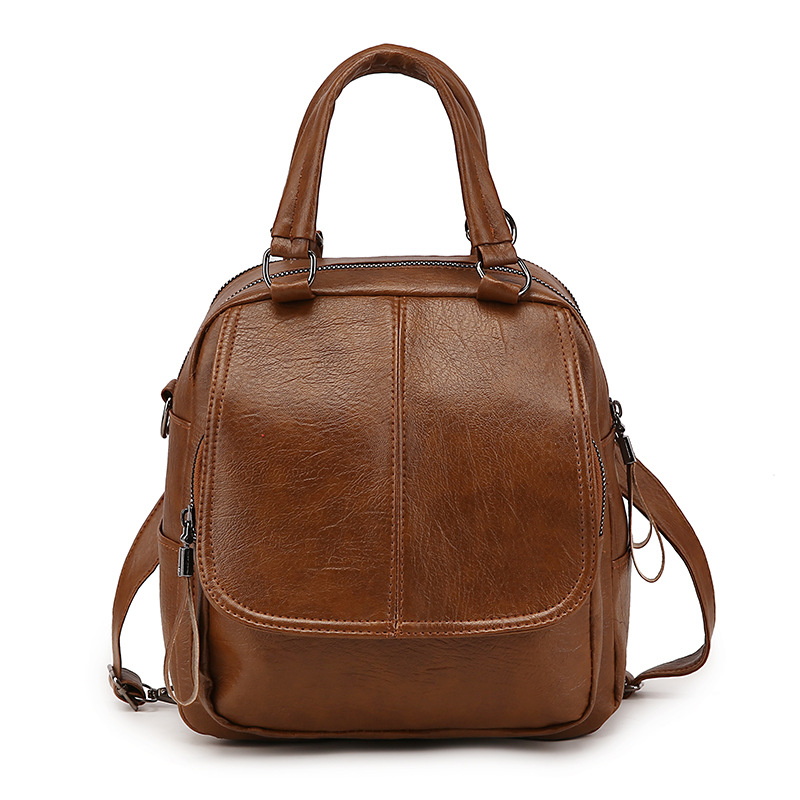 Backpack Female 2019 New Personality Korean Fashion Soft Leather Retro Ladies Backpack College Wind Leisure Travel Bag