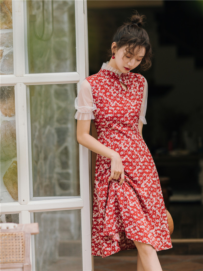 Summer Wear 2019 New Style Improved Edition Cheongsam Dress Women's Gauze Puff Sleeve Joint Waist Hugging Over-the-Knee Printed