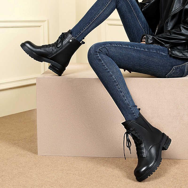 Klassieke ronde kop vierkante wortel Martins laarzen vrouwen lace-up rits lederen elastische band vrouwen laarzen herfst winter
