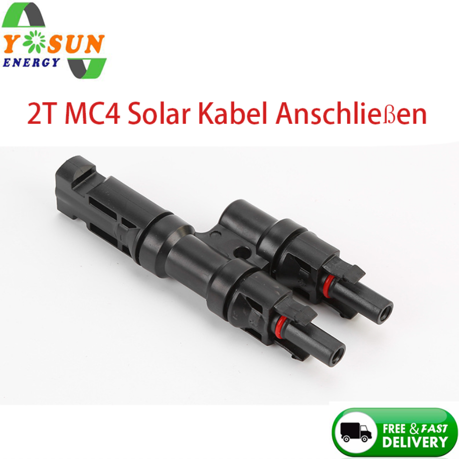 1Pair 2T Solar Connector 1 To 2 Solar PV 2T Branch Connectors Multi T Branch With Connector For Solar Panel Parallel Connection