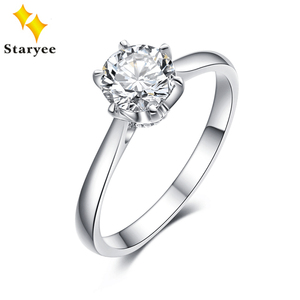 Image 1 - 1 Carat Kleurloos Hearts Arrows Charles Colvard Altijd Een Moissanite Engagement Rings Solid 18K White Gold Gratis Graveren