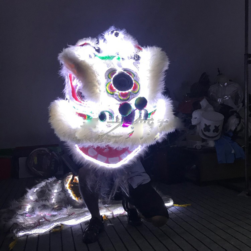Wool Southern Lion Nightclub Dragon Dance Bar Stage show clothing White light LED Colorful Lion Dance costume