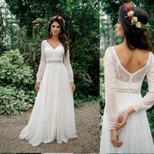Simple A Line Chiffon Wedding Dress 2021 V Neck Long Sleeves Bohemian Bridal Dress Elegant Robe de mariee Beach Cheap Custom Mad