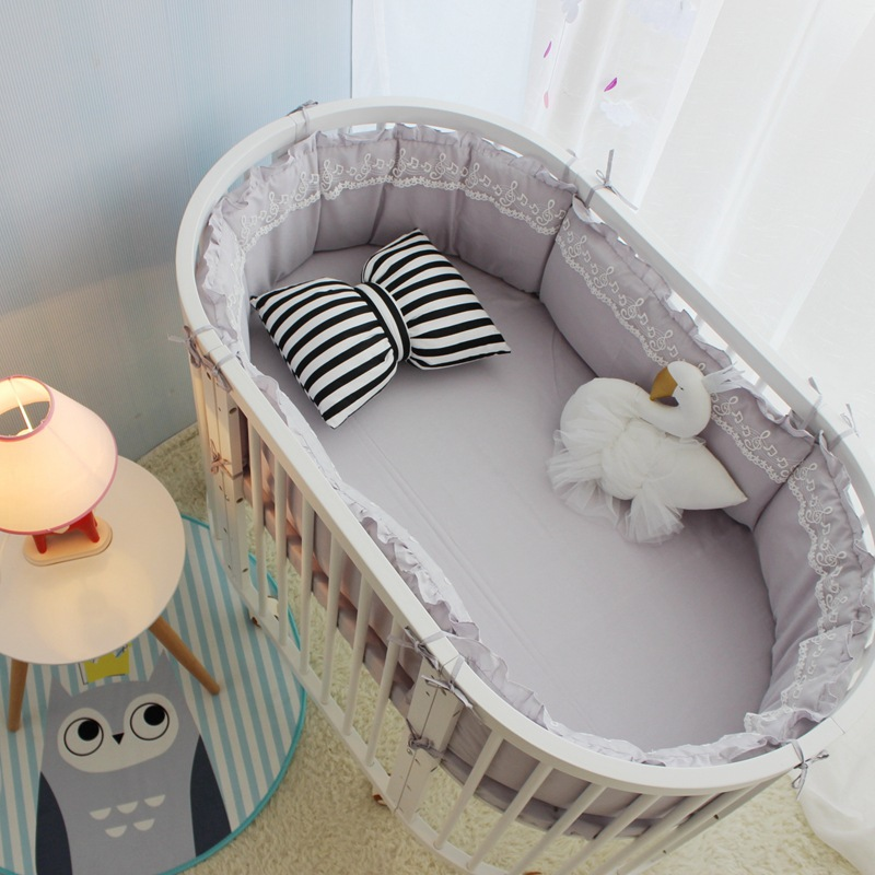 5pcs Set INS Lace Baby Elliptic Crib Bumpers Cotton Solid Color Round Cot Surrounding Protector Baby Craddle Removable Bedding