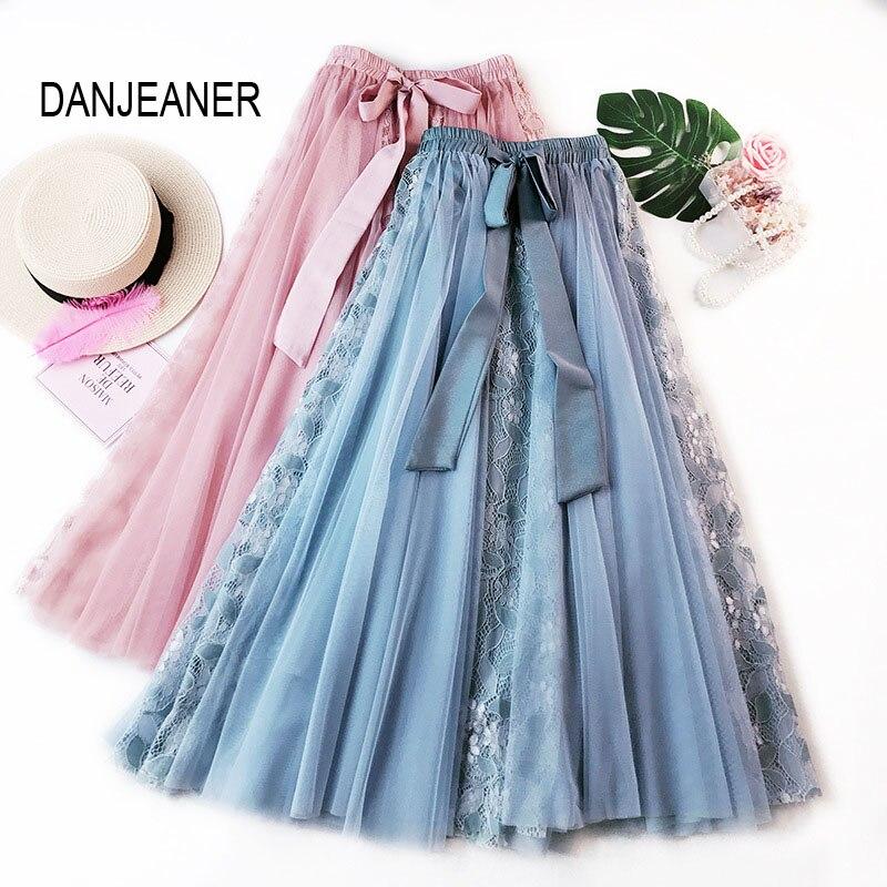 DANJEANER Fashion Tutu spódnica z tiulu kobiety długa długa spódnica koreański ładny łuk wysokiej talii plisowana spódnica kobieta szkoła słońce Spodnica 1