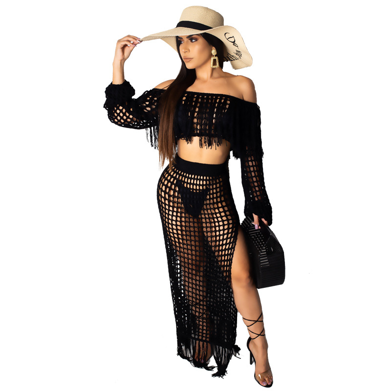 Womens Cute Two Piece Outfits Off The Shoulder Tube Top And Split Mesh Club Swing Long  Skirts
