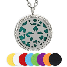 BOFEE Stainless Steel Essential Oil Locket Perfume Aromatherapy Diffuser Necklace Pendant Fashion Jewelry Crystal Gift 30MM