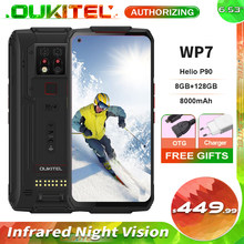 Oukitel wp7 visão noturna infravermelha ip68 impermeável áspero smartphone 6.53 8 8 8gb 128gb 48mp triplo câmera 8000mah telefone móvel