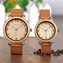 Wristwatch Montres Wooden Custom Bobo Bird Couple Quartz Bamboo Women Lovers Fashion