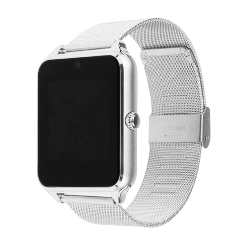 AMS-Z60 Bluetooth Smart Watch Camera Call SMS Remind Anti-Lost Sleep Monitor Pedometer Support SIM TF Card Stainless Steel Wrist