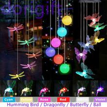 Renk değiştiren LED güneş enerjili kelebek rüzgar çanları ışık yıldız İplik asılı kanca ev bahçe açık tatil ışıkları dekor