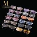 Новинка 2021, солнцезащитные очки UV400, Модные прямоугольные солнцезащитные очки без оправы для женщин и мужчин, солнцезащитные очки унисекс в ...