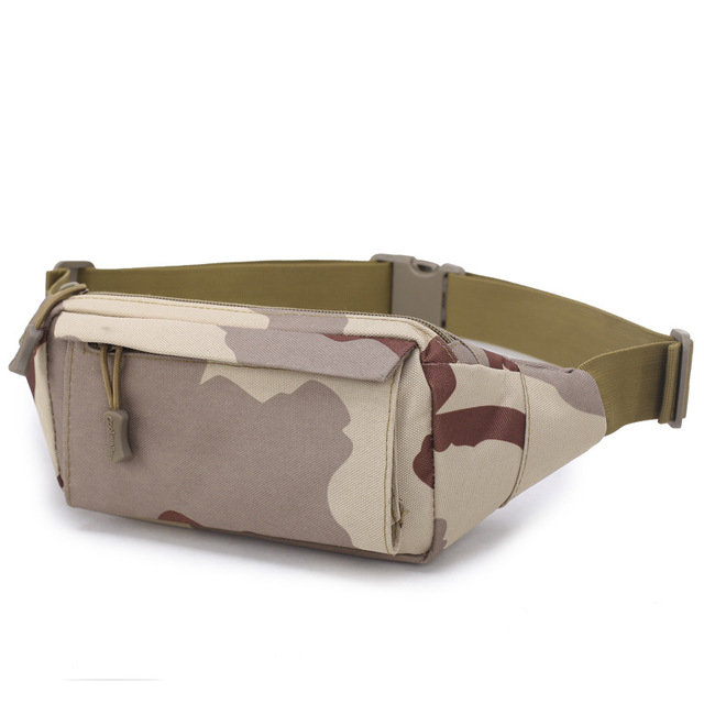 High Quality Men Fanny Pack Chest Shoulder Bag With 3 Pockets Nylon Minitary Waist Bag 2019 Zipper Belt Bag Black/Khaki