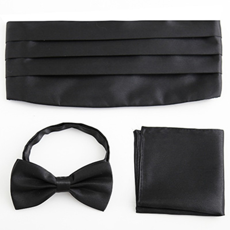 Men Accessories Wide Elastic Belt Cummerbund Set Bowtie Pocket Square Towel Handkerchief