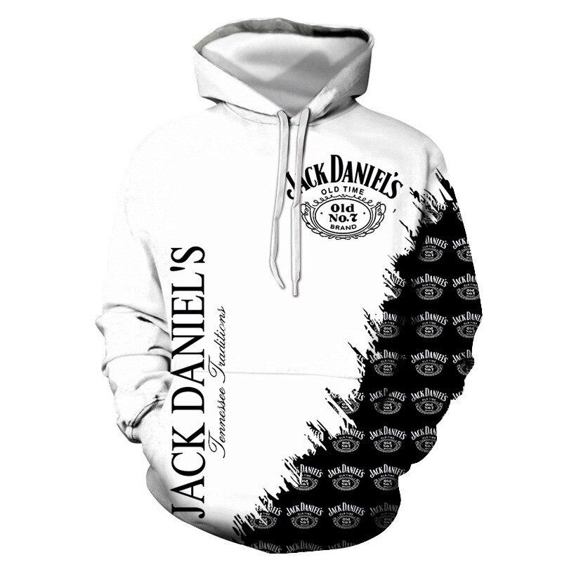 New 2020 fashion fashion men/women 3d sports Jack Daniels digital print hooded hoodie thin unisex pullover tops for men 14