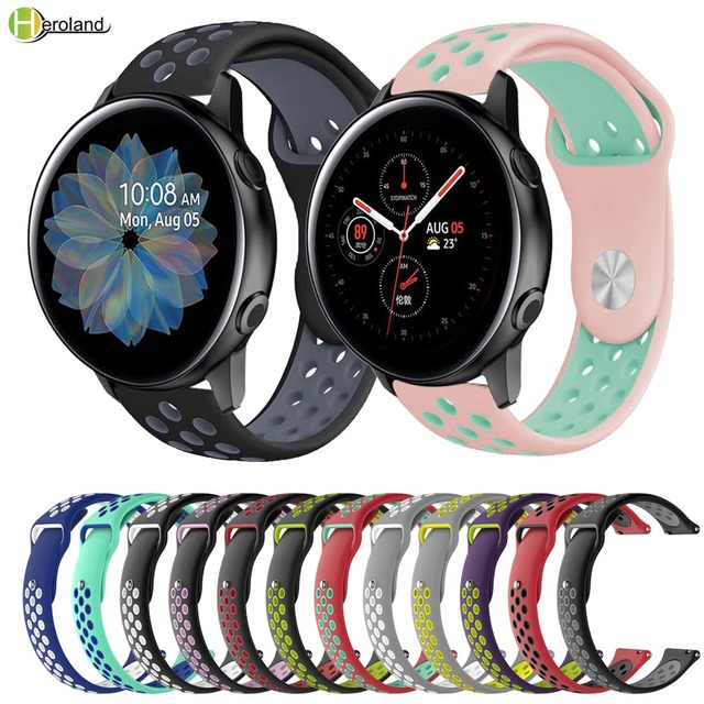 20 22MM silicone Watch Strap Band For Samsung Galaxy Watch Active 2 40mm 44mm / Galaxy Watch 42mm 46mm wristband For HUAWEI GT 2