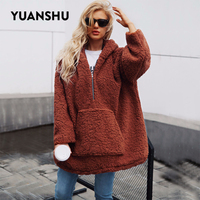 YUANSHU Kangaroo Big Pocket Faux Fur Hoodies Women Winter Thick Warm Fluffy Shaggy Fur Pullover Fashion Oversized Outerwear