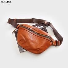 Genuine Leather Waist Bag Pack Men Luxury Brand Vintage Cowhide Multi Function Travel Shoulder Crossbody Bag Chest Bags For Male
