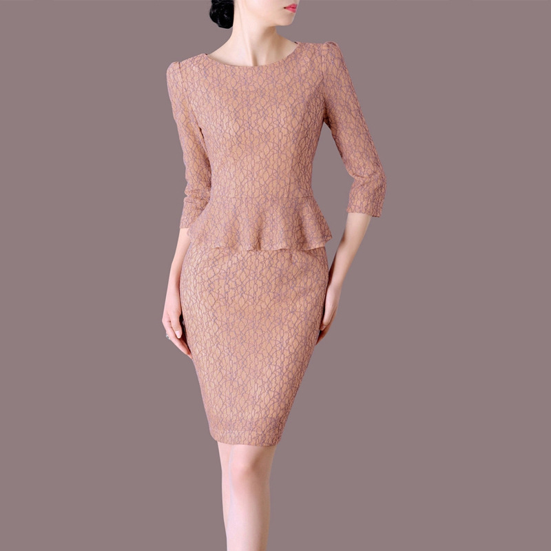 BacklakeGirls 2020 Cotton Lace Round Neck Formal Dresses Pink Mother Of The Bride Dresses Three Quarter Sleeves Plus Size