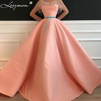 Leeymon Sweetheart Ball Gown Evening Dress Beaded Tulle Feathers Sashes Party Gown robe de soiree Long Dress