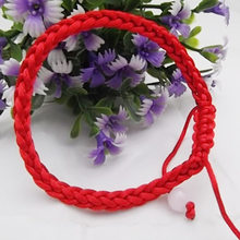 Cute Valentines Gift Knit Lucky Friendship Seaside Handmade Beautiful 2PCS Gifts Bracelet Adjustable Bead Red Chain Couples(China)