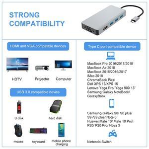 Image 5 - Thunderbolt 3 USB C ประเภท C ถึง HDMI VGA USB HUB 4K สำหรับ Samsung S9 HDTV โปรเจคเตอร์คอมพิวเตอร์ USB C Cable Adapter