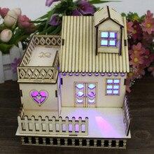 DIY кукольный домик, маленький деревянный светодиодный миниатюрный домик с подсветкой, вечерние, свадебные украшения, игрушки для детей, Рождество# WS