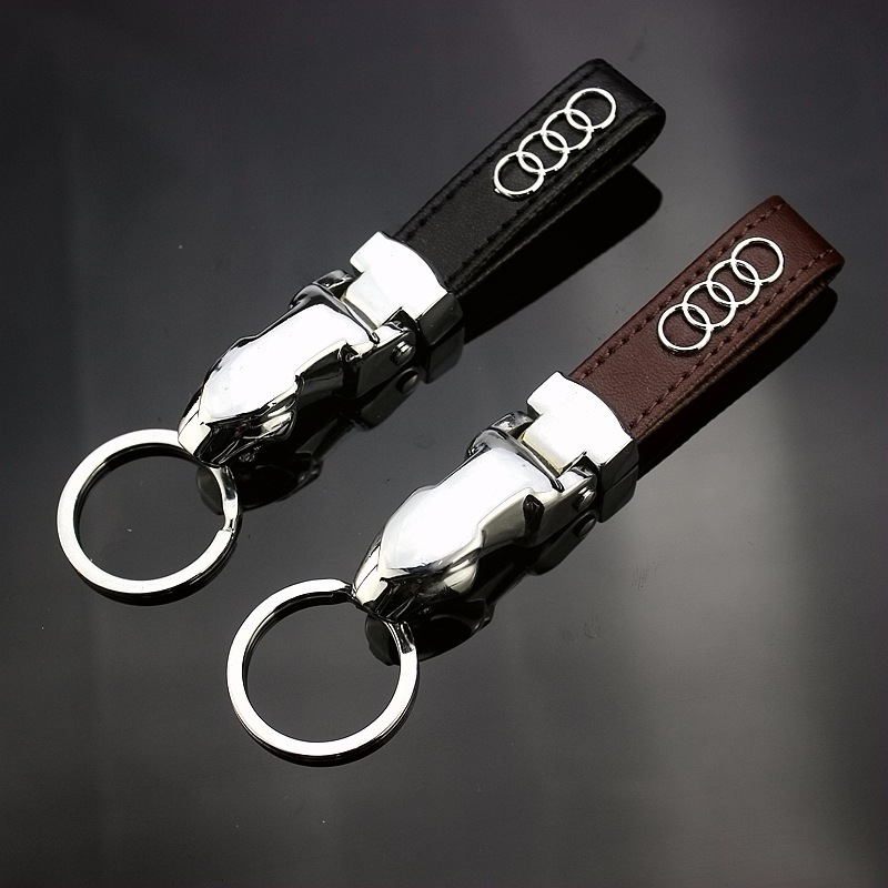 Applicable To Audi Car Leather Keychain New Creative Leopard Head Car Logo Keychain Pendant Q102