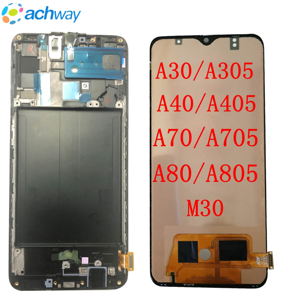 For SAMSUNG GALAXY A30 A305 A40 A405 A50 A505  A70 A80 M30 LCD Display Touch Screen With Frame For samsung A805 A705 Display TFT