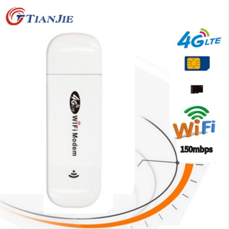 TIANJIE LTE USB routeur Mobile 3G/4G 150bps Wifi routeur voiture Hotspot Portable/Mini/sans fil USB voiture Modem bâton données de la carte Sim Dong