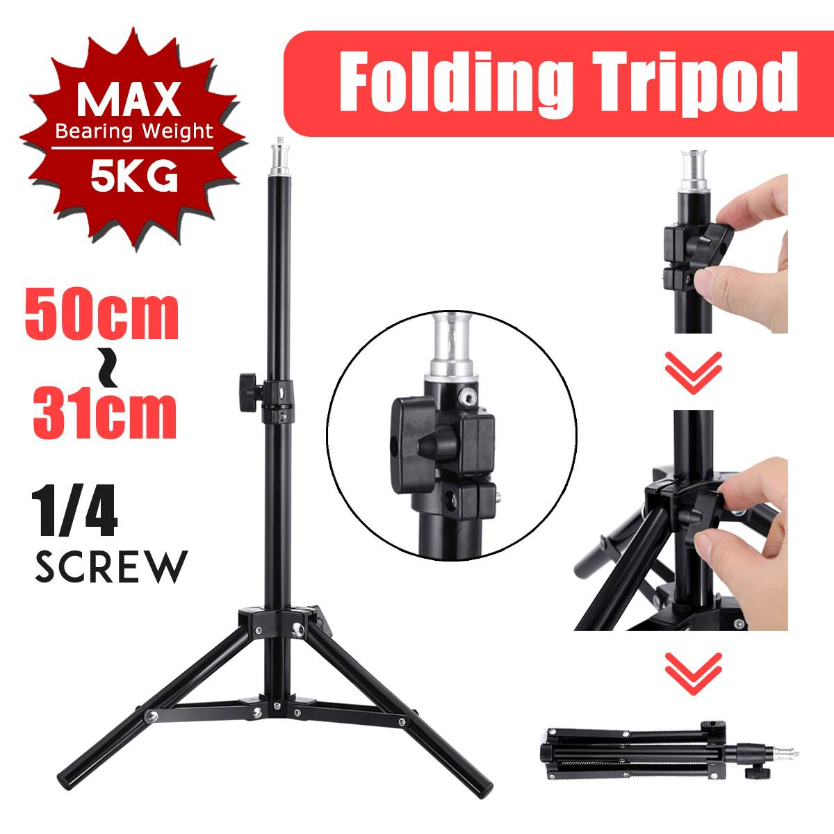 0.5~2m Light Stand Tripod Video With 1/4 Screw Head Bearing Weight 5KG For Camera Studio Softbox Flash Reflector Lighting
