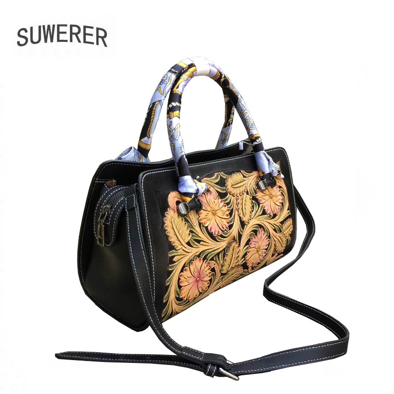 Image 4 - SUWERER 2020 New Women Genuine Leather bag Luxury handbags women famous brand leather bag  Hand carved tote bagsTop-Handle Bags   -
