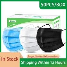 Masque chirurgical jetable avec filtre à 3 couches, 50/100/200 pièces, masque médical respirant, Non tissé, Anti-poussière, à boucles auriculaires