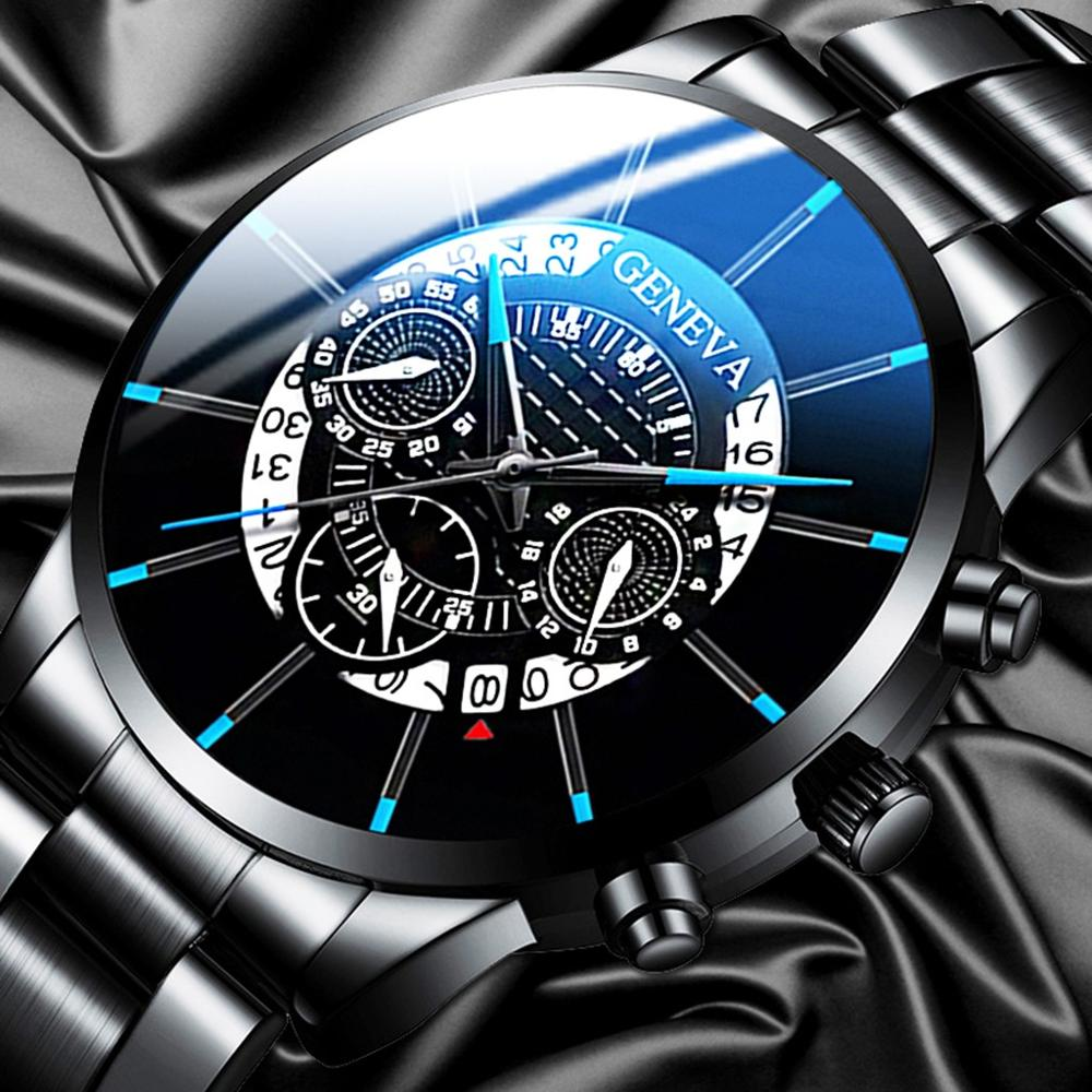 Mens Fashion Watch 2020 Quartz Classic Black Wristwatch Steel Belt Luxury Calendar Business Watches Herren Uhren Gifts For Men