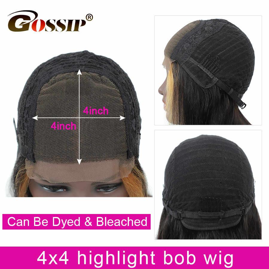 Peluca de Bob corto, peluca de cabello humano liso con Gossip Hair de malla frontal, peluca de encaje 13x6, pelucas de cabello humano Malasio para mujeres negras, cabello Remy