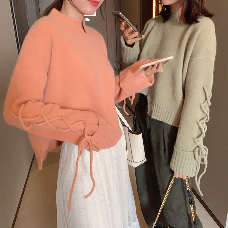 Mishow 2019 Winter Causal Solid Turtleneck Sweater Women Loose Long Sleeve Irregular Hem Knit Pullover Tops MX19D5630