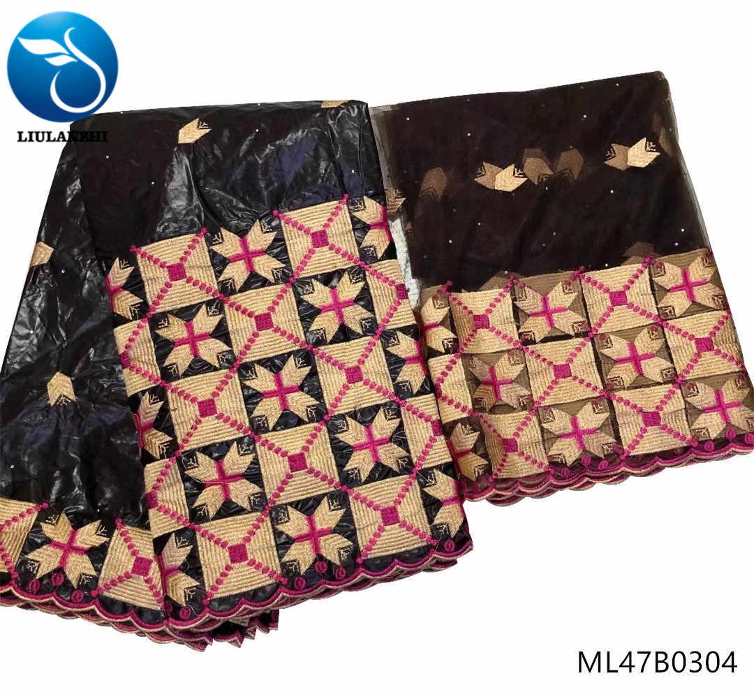 LIULANZHI bazin lacci in tessuto africano 2019 del merletto del tessuto Bazin Riche Getzner tessuto di alta qualità del vestito per le donne 7yards/lotto ML47B03